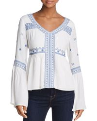 Aqua - Embroidered Bell Sleeve Top - Lyst