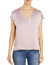 Go> By Go Silk Raw - Edged Silk Tee - Pink