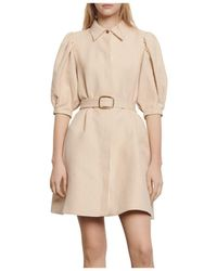 Sandro Belted Shirt Dress - Natural