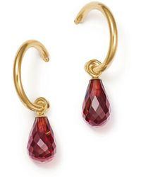 Bloomingdale's - Garnet Briolette Hoop Drop Earrings In 14k Yellow Gold - Lyst