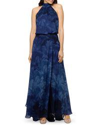 Aqua Chiffon Print Halter Gown - Blue