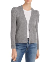 C By Bloomingdale's Puff - Sleeve Cashmere Cardigan - Grey