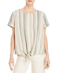 Kim & Cami Striped Tie Front Top - Natural