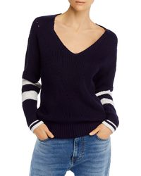 Aqua Striped - Sleeve V - Neck Jumper - Blue