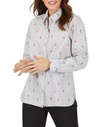 Foxcroft Cotton Pineapple Print Striped Shirt - Black