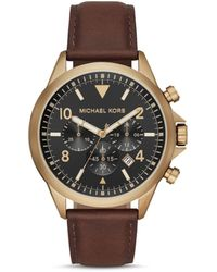 Michael Kors Oversized Gage Leather And Gold-tone Watch - Multicolor