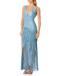 Hervé Léger Lurex Deep V Gown - Blue
