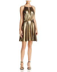 Aqua - Metallic Fit-and-flare Dress - Lyst
