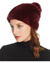 Maximilian Knit Rex Rabbit Fur Hat - Multicolor