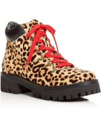 Aqua - Knox Women's Round-toe Leopard-print Lace Up Booties - Lyst
