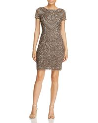 Adrianna Papell - Beaded Sheath Dress - Lyst