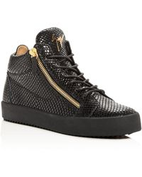 Giuseppe Zanotti - Men's Snake-embossed Leather Mid Top Sneakers - Lyst
