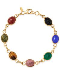 Bloomingdale's Multi - Stone Scarab Link Bracelet In 14k Yellow Gold - Metallic