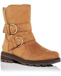 Sorel - Lennox Cozy Shearling Waterproof Moto Boots - Lyst