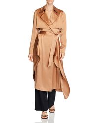 Cushnie Silk Belted Trench Coat - Natural