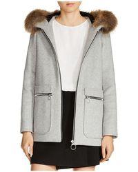 Maje - N Greli Fur-trimmed Coat - Lyst