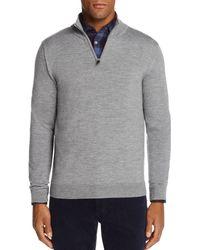 Bloomingdale's Quarter - Zip Merino Sweater - Gray