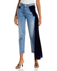Hellessy Ramy Velvet Drape Cropped Jeans In Medium Wash/navy - Blue