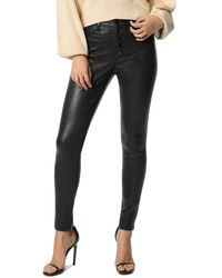 Joe's Jeans The Charlie Ankle Exposed Button Fly Leather Pants In Black