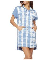 Billy T Water Stripe Hoodie Dress - Blue
