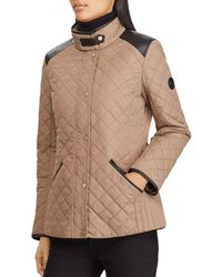 Ralph Lauren - Lauren Faux Leather Tab Quilted Jacket - Lyst
