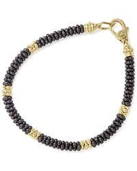 Lagos Gold & Black Caviar Collection 18k Gold & Ceramic Rope Bracelet - Metallic