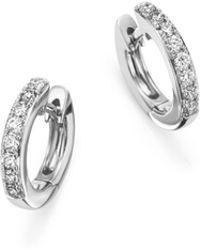 Bloomingdale's - Diamond Mini Hoop Earrings In 14k White Gold, .15 Ct. T.w. - Lyst