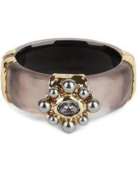 Alexis Bittar Byzantine Crystal & Imitation Pearl Hinge Bangle Bracelet - Multicolour