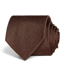 Bloomingdale's Geometric Woven Silk Classic Tie - Brown