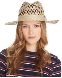 Aqua Openwork Panama Hat - Natural
