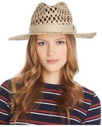Aqua - Openwork Panama Hat - Lyst