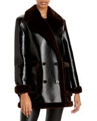 Theory Faux Leather & Faux Fur Peacoat - Brown