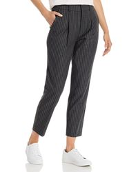 Anine Bing Becky Cropped Pinstriped Pants - Grey