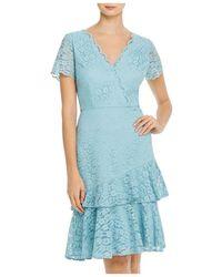 Adrianna Papell Felicity Flounced Lace Dress - Blue