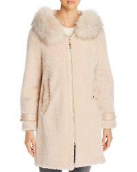Maximilian Shearling & Fox Fur Trim Hooded Jacket - Natural
