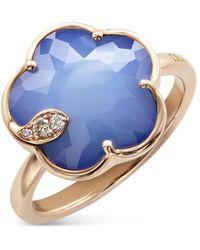 Pasquale Bruni 18k Rose Gold Petit Joli Lapis White Agate Doublet & Diamond Ring - Blue