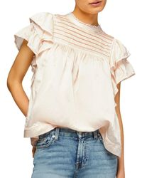 7 For All Mankind Lace Trim Ruffled Top - Multicolor