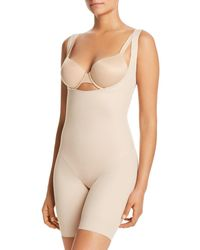 Tc Fine Intimates Torsette Thigh Slimmer Bodysuit With Shorts - Natural