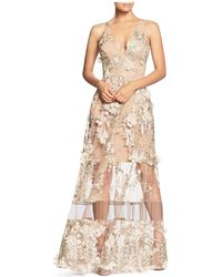 Dress the Population - Gig Floral Illusion Gown - Lyst