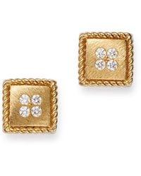 Roberto Coin 18k Yellow Gold Diamond Stud Earrings - Metallic