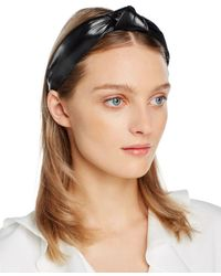 Aqua Faux Leather Knot Headband - Black