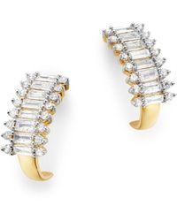Adina Reyter - 14k Yellow Gold Diamond J Hoop Earrings - Lyst