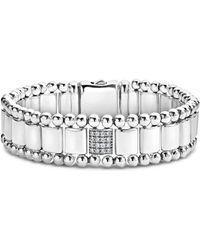 Lagos - Sterling Silver Caviar Spark Pavé Diamond Station Link Bracelet - Lyst