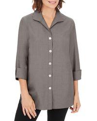 Foxcroft Pandora Non - Iron Cotton Shirt - Grey