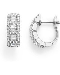 Bloomingdale's - Round And Baguette Diamond Huggie Earrings In 14k White Gold, .75 Ct. T.w. - Lyst