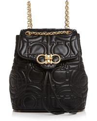 Ferragamo Medium Quilted Leather Backpack - Black