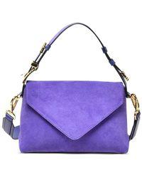 Alberta Ferretti Small Suede Envelope Shoulder Bag - Purple