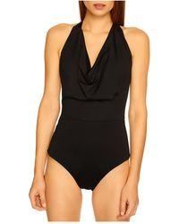Susana Monaco Cowl Neck Bodysuit - Black