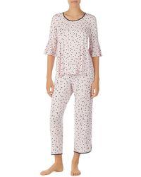 Kate Spade Short Sleeve Gathered Pyjama Set - Pink