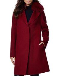 Dawn Levy Cecilia Fur Trim Coat - Red